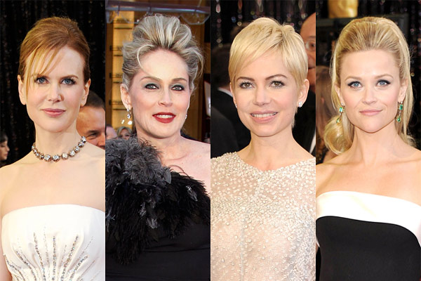 oscars 2011 hair trend Nicole Kidman Sharon Stone Michelle Williams Reese Witherspoon