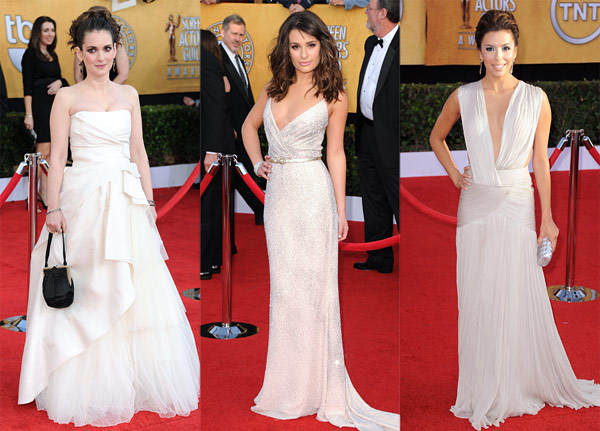 Screen Actors Guild awards 2011 red carpet white dresses