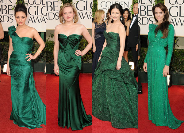 Mila Kunis Angelina Jolie Catherine Zeta-Jones Golden Globes 2011 red carpet dresses