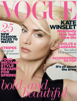 Kate Winslet blonde pixie  April cover Vogue UK.