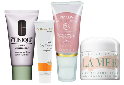 Clinique Pore Minimizer, Dr. Hauschka Rose Day Cream, Revlon Age Defying Spa Face Illuminator  Crème de la Mer Moisturizing Cream