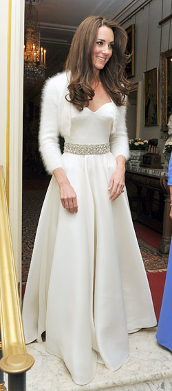 kate middleton wedding party dress mcqueen sweater bolero