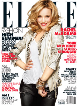 Rachel McAdams Elle June 2011 cover Balmain leather