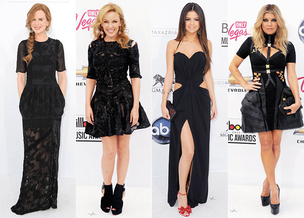 Nicole Kidman Kylie Minogue Selena Gomez Fergie black dresses Billboard Music Awards