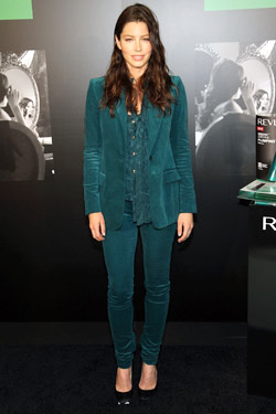 Jessica Biel teal Gucci suit stretch velvet