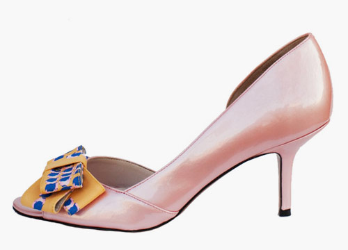 Tucker bow-topped, peep-toe pump