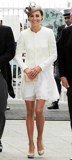 Kate Middleton white Reiss peacock dress
