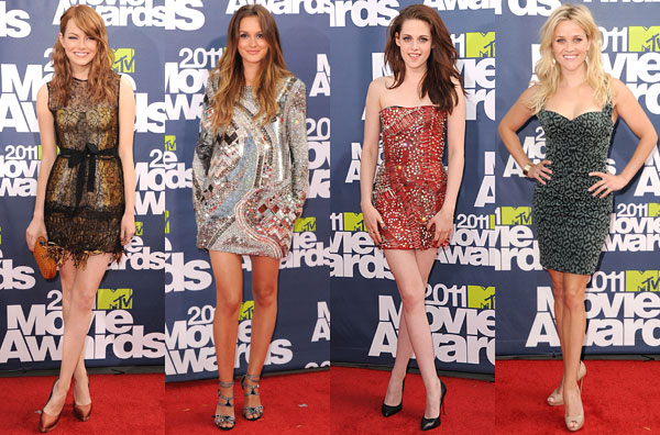 Emma Stone, Leighton Meester, Kristen Stewart, Reese Witherspoon short minidresses MTV Movie Awards