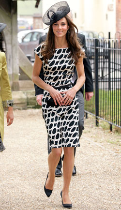 Kate Middleton black-and-white swirl-printed silk dress