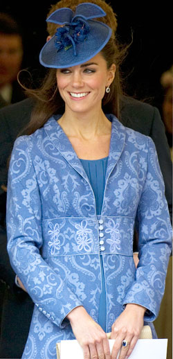 Kate Middleton blue jacquard coat dress