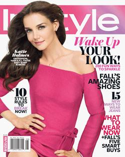 Katie Holmes InStyle August cover pink Lanvin