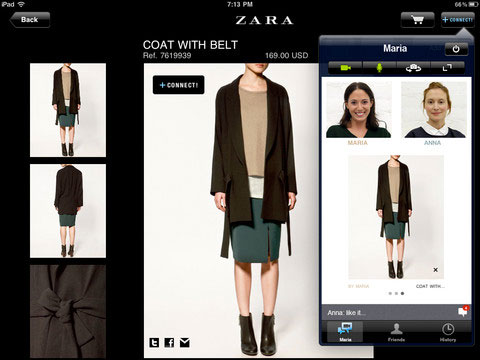 zara iphone app incorporates video chat