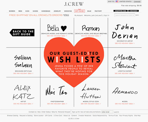 jcrew holiday gift guide guest editors