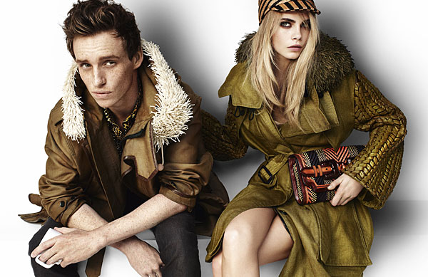 Edie Redmayne Cara Delevingne Burberry's Spring 2012 ad campaign