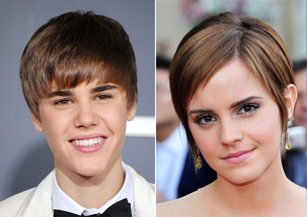 Emma Watson and Justin Bieber hairstyles