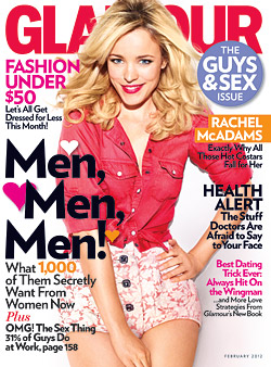 20120103 rachel mcadams glamour  feb2012 cover 250w Rachel McAdams Lovable Looks in February Glamour