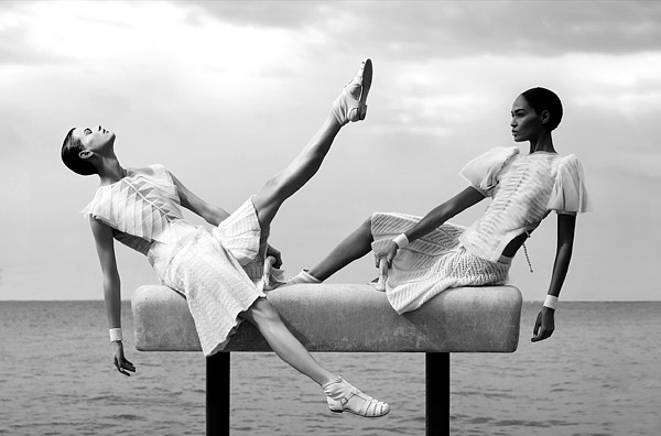 Saskia de Brauw  Joan Smalls balance beam Chanel Spring 2012 campaign