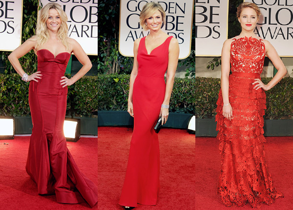 Golden Globes 2012 red dresses Reese Witherspoon, Stacy Keibler Dianna Agronc