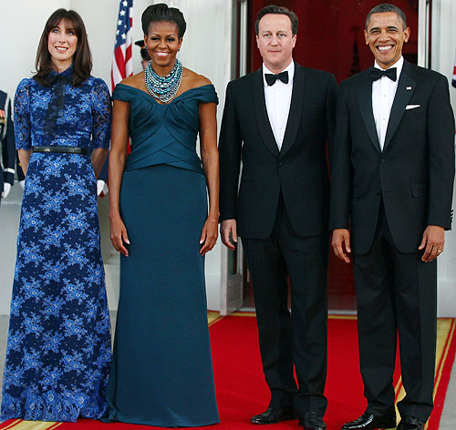 Samantha Cameron in Alessandra Rich and Michelle Obama in Marchesa
