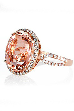 Blue Nile diamond and morganite ring