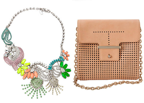 Ann Taylor Electric Garden Necklace  Perforated Leather Mini Bag
