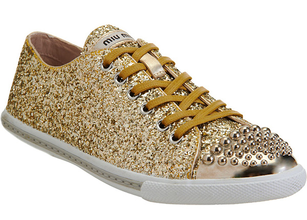 Barneys New York Miu Miu gold sneaker