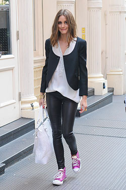 women embarrassed leather pants olivia palermo