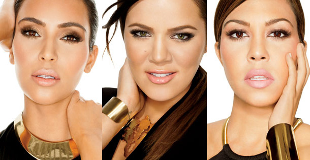 Kim, Khloe, and Kourtney Kardashian primp for the camera.
