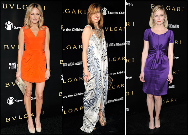 Kirsten Dunst Malin Akerman Mila Jovavich Bulgari save the children fundraiser party