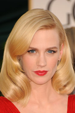 January Jones bold red lips Golden Globes 2011