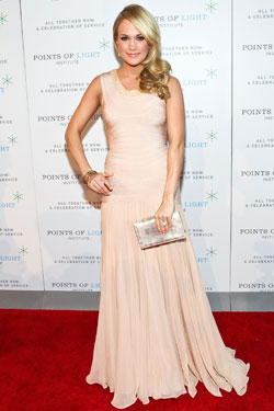 Carrie Underwood blush Herve Leger by Max Azria gown