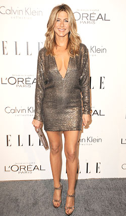 Jennifer Aniston KaufmanFranco sequin minidress Elle's 18th Annual Women in Hollywood Tribute