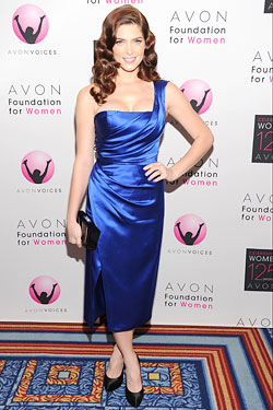 Ashley Greene blue Donna Karan dress