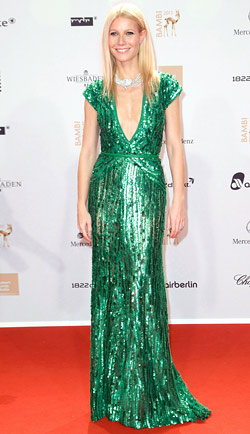 Gwyneth Paltrow sequin emerald green Elie Saab dress