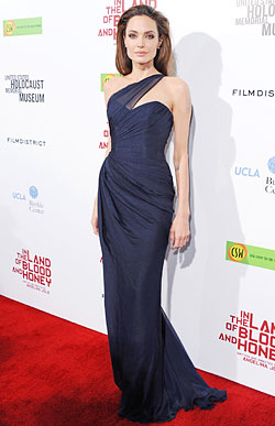 Angelina Jolie blue Romona Keveza gown The Land Of Blood and Honey