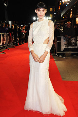 Rooney Mara white Givenchy gown